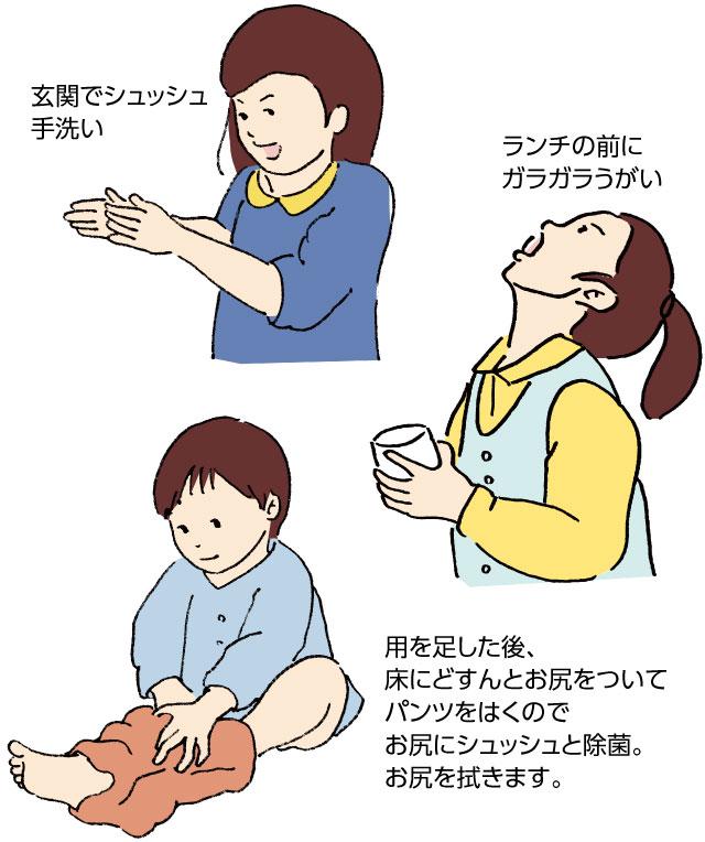 玄関でシュッシュ手洗い、ランチの前にガラガラうがい、用を足した後、床にどすんとお尻をついてパンツをはくのでお尻にシュッシュと除菌。お尻を拭きます。