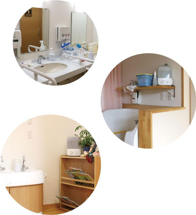 洗面台、トイレ、ランチルーム、「みんなのおうち」どの部屋にもPOIC水と噴霧器が置いてあります。